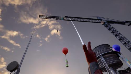 VRでスパイダーマン体験クモ